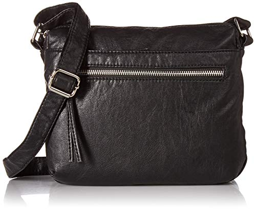 Bueno of California Bueno Faux Leather Washed Vintage Parchment Cross Body, Black