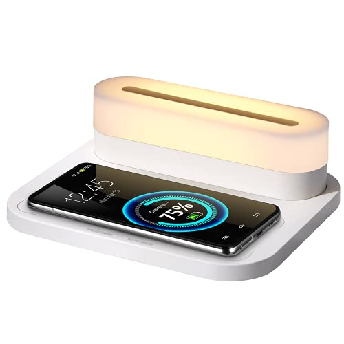 COLSUR Multifuction Table Lamp 15W Fast Wireless Charger Lamp with 10%-100% Adjustable Brightness, 3 Color Modes Touch Control LED Night Light with Magnetic Function Office Desk