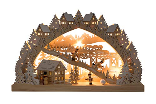 Clever Creations Traditional Wooden Table Top Christmas Decorations | Unique Skiing Hill with Battery Operated Christmas Lights | Festive Christmas Decor | Village, Skier Kids, Snowman, and Houses by Clever Creations (Image #1)
