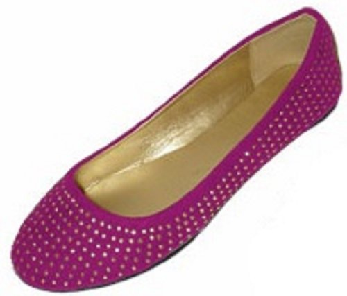 Colors 4021 Shoes Rhinestone Berry 5 Ballerina Faux Shoes Flats Suede Womens 18 Ballet qpPTqSv
