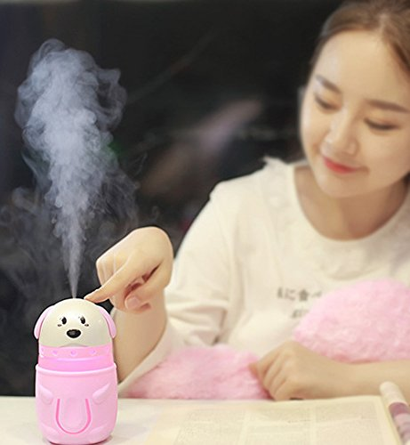 Fly Array USB Humidifier Dog Shape Humidifier Night Light for Students Dormitory Home Room Office Desktop Silent Car Humidifier Creative Gifts (pink brown yellow blue) Pink by Fly Array (Image #1)