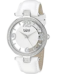 Burgi Womens BUR150WT Silver Quartz Watch with Swarovski Crystal Accents and See Thru Dial With White Leather...