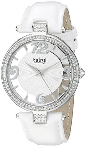 Burgi Women's BUR150WT Silver Quartz Watch with Swarovski Crystal Accents and See Thru Dial With White Leather Strap