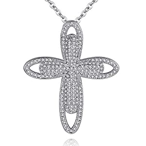 CZCITY Cross Necklace for Women Jewelry - 18K Rhodium Plated Cubic Zirconia Pendant Necklace Silver with Extend Chain 18