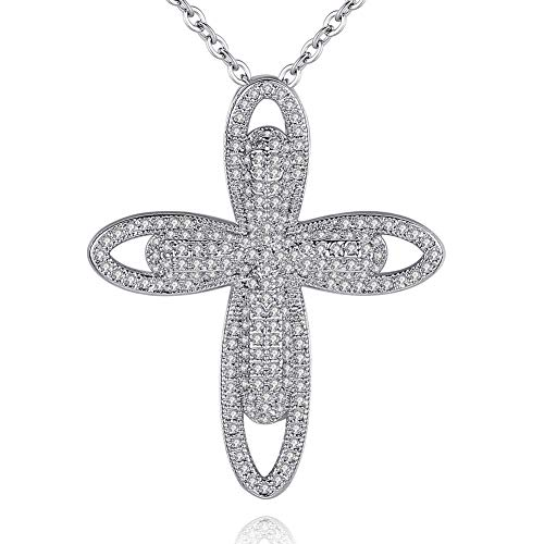CZCITY Cross Necklace for Women Crucifix Jewelry- 18K Rhodium Plated Cubic Zirconia Pendant Necklace Silver with Extend Chain 18