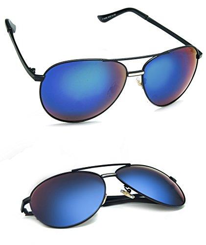 Polarized UV400 Protection Retro Style Wayfarer Metal Frame Coated Lenses Sunglasses For Men Women ( black , polarized - Sungalsses Hut