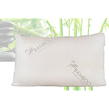 Bamboo By Relax Home Life-Firm Bamboo Pillow With Shredded Memory Foam and Removable Cover (Queen)