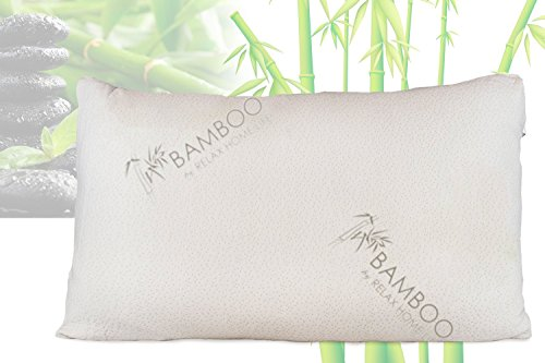 Great Deal! Bamboo By Relax Home Life-Firm Bamboo Pillow With Shredded Memory Foam and Removable Cov...