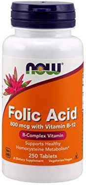 Now Folic Acid 800 mcg with Vitamin B-12,250 Tablets