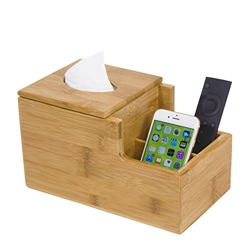 GOBAM Tissue Box Cover/Holder Square Remote Control Holder, Decorative Box for Home & Office, Natural Bamboo(Size:9.65 x 5.51 x 5.51inches)