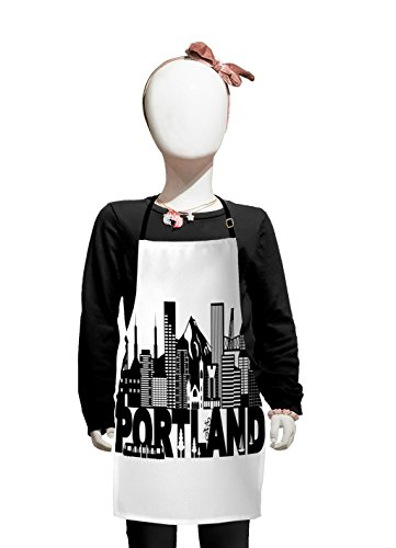Lunarable Portland Kids Apron, Famous Landmarks in Oregon State Buildings Mount Hood and Hawthorne Bridge, Boys Girls Apron Bib with Adjustable Ties for Cooking Baking and Painting, Black and White ()