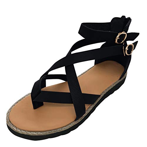 2019 New Women Casual Rome Soft Flats Sandals Shoes,Summer Outdoor Flip Flops Buckle Fashion Retro Comfy Wedge Shoes (Black, US:6.5)