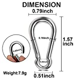 Spring Snap Hook, Lsquirrel 1.57 inch 304 Stainless Steel Carabiner Steel Clips Silver Keychain Heavy Duty Quick Link for Camping Hiking Traveling Fishing