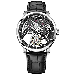Agelocer Double-Sided Hollow Transparent caseback Tourbillon Hand-Operated Mechanical Men's Watch 9001A1