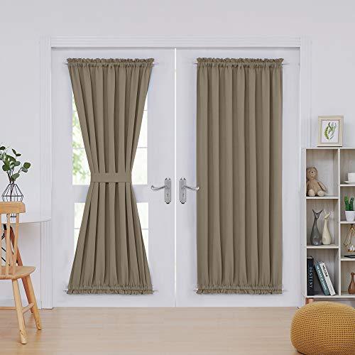 Deconovo Room Darkening Versatile Blackout Curtains for French Door and Glass Window Khaki 52x72 Inch 2 Panels