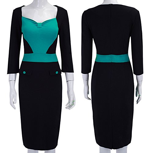 [Merope J Womens Contrasted Color Button Slim Fitted Business Dress(L,Green)] (Lucille Ball Costumes For Halloween)