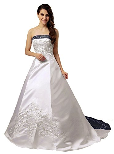RohmBridal Strapless Embroidery Satin Wedding Dress Gown ...