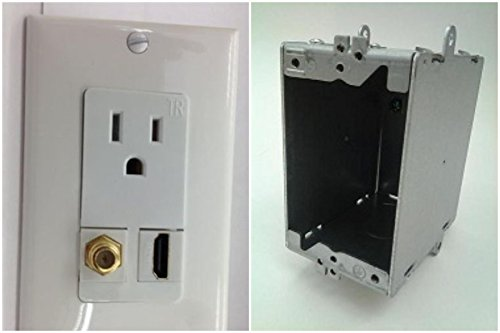 CERTICABLE 110V POWER OUTLET + HDMI 1.4 + F-TYPE COAX TV WALL PLATE HD 3DTV + WALL BOX SET (Plate Wall Terminal Hdmi)