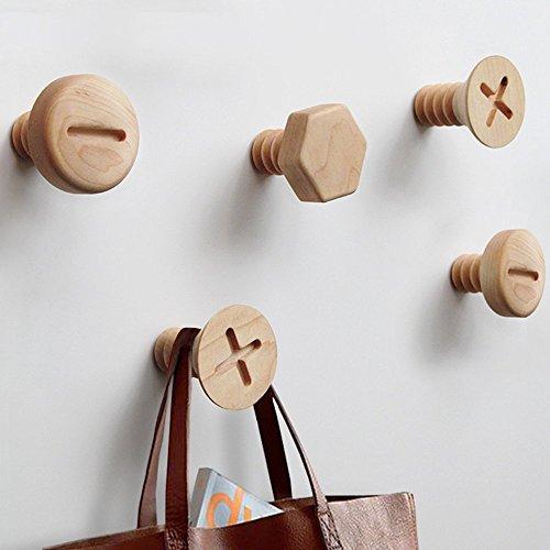 den Screws Hooks Hangers Wall Mounted-Craft Hat Rack Minimalist Decorative Screws Hooks Coat Hooks Hat Hanger2.36x2.36 in(Pack of 3) ()