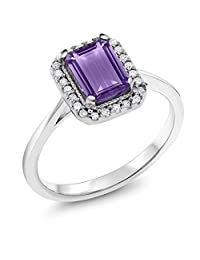 10K White Gold 1.12 Ct Purple Amethyst with Diamond Accent Engagement Ring