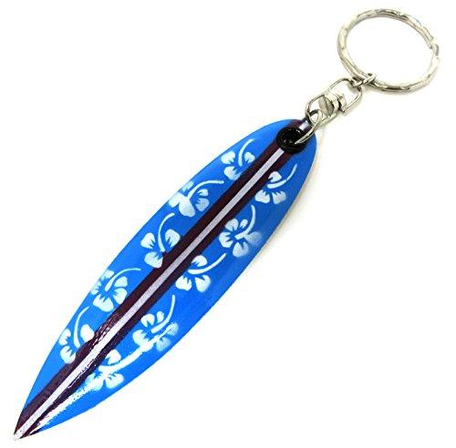 Hibiscus Blue Surfboard - Surfboard Keyring - Wooden Surfboard Keychain - Hawaiian Flower Keyring (White Hibiscus - Blue Surfboard)