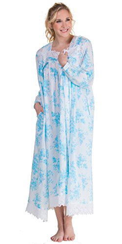 Eileen West Peignoir Set - White Floral Cotton Gown & Robe in Aerial Bouquet (White/Turquoise Floral, Medium) by Eileen West (Image #3)