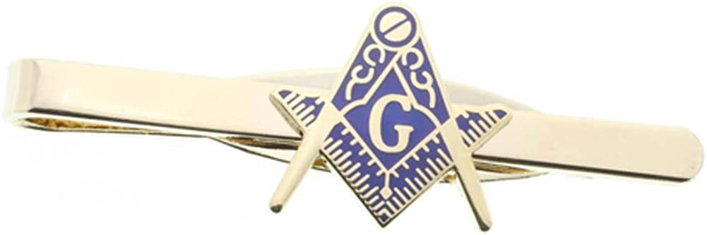 Masonic Blue Lodge Cut Out Shaped Compass and Square Tie Clip / Tie Bar - Gold Color with Classic Freemasons Symbol