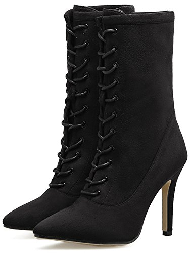 Easemax Women's Sweet Pointed Toe High Stiletto Heeled Ankle High Boots With Side Zipper Black l1xdp8jdF