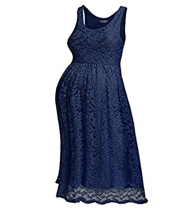HOTOUCH Women's Maternity Knee Length Sleeveless Sexy Lace Dress Navy Blue S