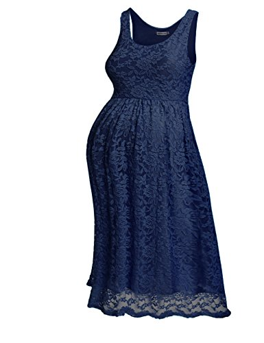 Hotouch Womens Maternity Knee Length Sleeveless Sexy Lace Dress