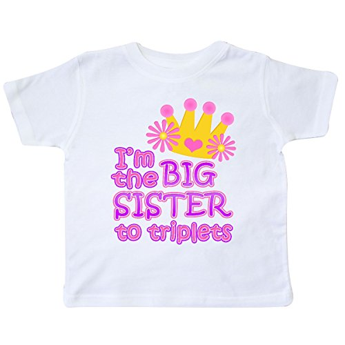 inktastic I'm The Big Sister to Triplets. Toddler T-Shirt 4T White