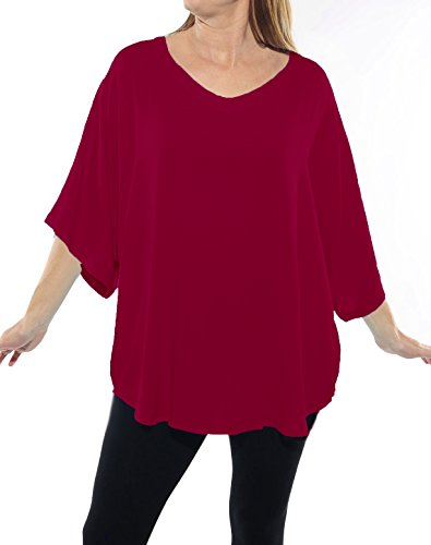Rayon Shell - We Be Bop Womens Plus Size Solid RED Crinkle Rayon Shell Top 0 X 1X 2 X 3X 4 X 5X 6X