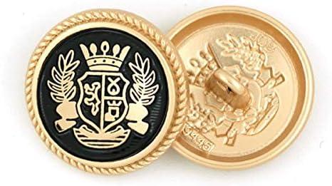 LGCD 服DIYコート用クリニークメタルボタンラウンド装飾ボタンブレザーセーターソーイングアクセサリーゴールドゴールデンボタン15/20/25ミリメートル (Color : Gold Black, Size : 20mm)
