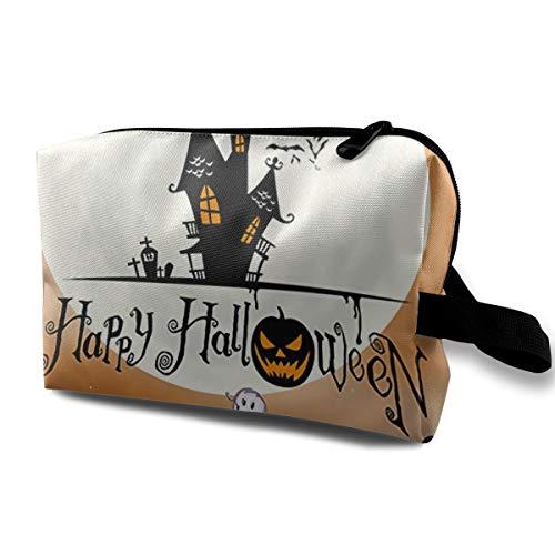 Happy Halloween Motif Women's Travel Makeup Bag Multifunctional Organizer Pouch Bag With Zipper For -