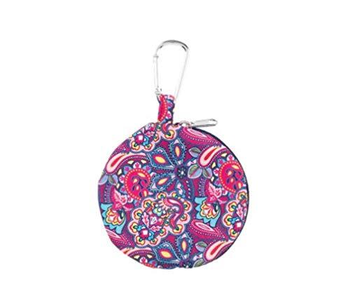 Ellison Hot Pink Paisley 4 x 4 Polyester Fabric Zipper Headphone Earbud Case
