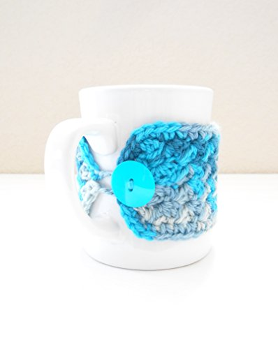 Crochet Coffee Mug Cozy, Cup Cozy, Tea Mug Sweater, Ocean Blue Colors ()