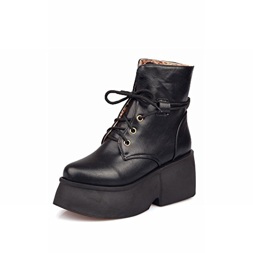 Womens Latasa Mid Ankle Platform high Boots Lace up Black Chunky heel Chic Boots HwwfdqC