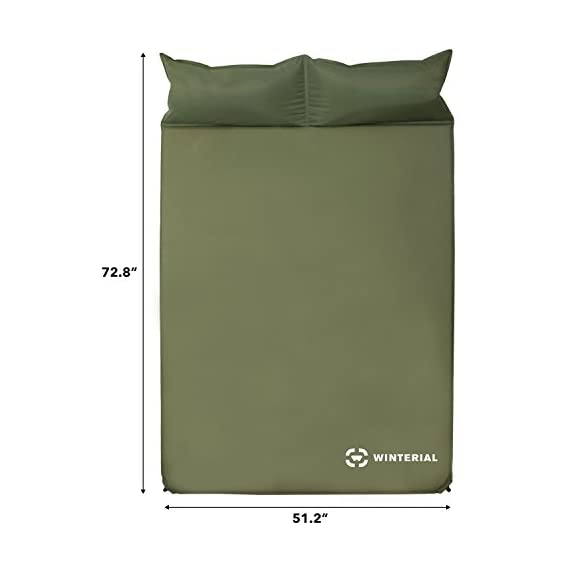 "Winterial Double Self Inflating Sleeping Pad with Pillows, Camping, Backpacking, Travel, 2 Person 6 THE ULTIMATE 2 person Sleeping Pad / Designed for 2 people / Convenient and Portable double sleeping pad FEATURES 2 built in pillows / Optimum Sleep / Less items to pack / Space Saving while you are traveling and in the tent. Camping made easy! DIMENSIONS: 72.8"" x 51.2"" x 1.2"" / Overall weight of 5.5 lbs! The lightweight solution to other competing double sleeping pads!"