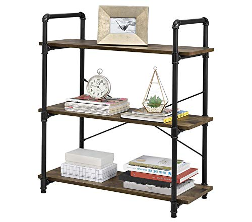- Wood & Style Office Home Furniture Premium Carter 3 Shelf Bookcase, Rustic