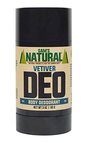 Sam's Natural Deodorant Stick - Vetiver, Aluminum Free, Vegan, Cruelty Free, 3 oz