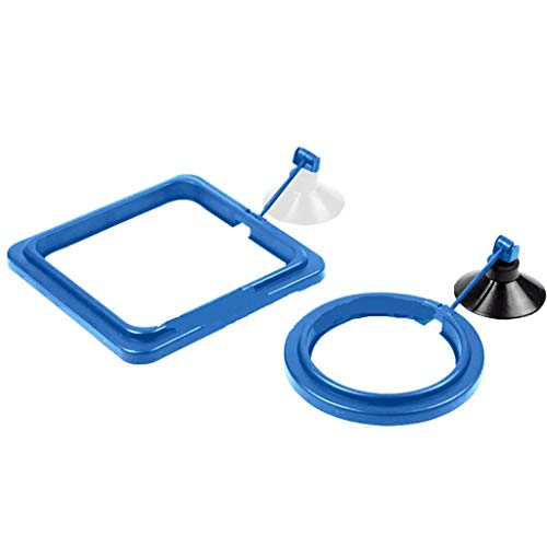 Iusun 2PCS Fish Feeding Aquarium Fish Tank Station Ring Feeder Floating Food Circle Reduces Wastage and Maintains Water Quality,Round Square Shape (Blue)