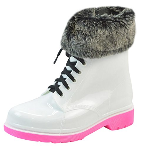 LvRao White Waterproof Rain Short With Shoes Boots Ankle Shoeslace Women's Snow Garden Pink with Fur Booties Sfq7Sr
