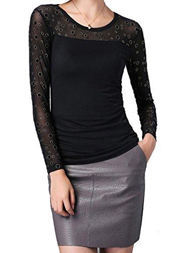Helan Mujeres Cuello redondo Soft Net Negro floral de la blusa Lunares