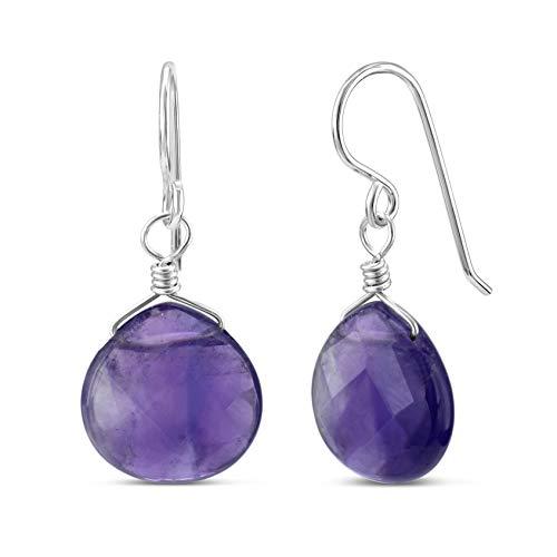 Earrings Hook Drop Amethyst (FRONAY Natural Amethyst Sterling Silver Drop Dangle Hook Earrings - Made in USA (amethyst))