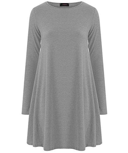 Damen Kleid Einfarbiges Langärmeliges Ausgestelltes Swing Jersey Mini Stretch Kleid Verschiedene Größen - S/M (EU 36-38), Grau