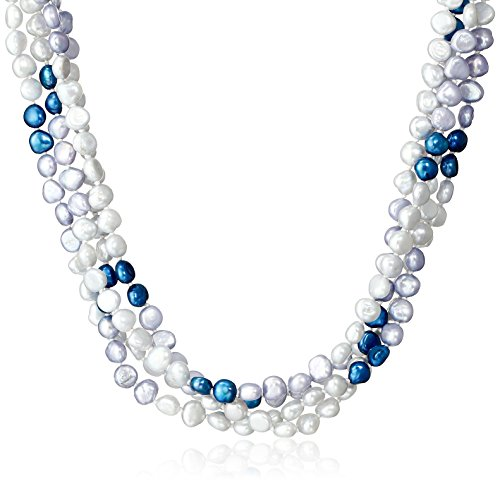 6-7mm Dyed Blue Color Block Baroque Freshwater Cultured Pearl Endless Necklace, 100""
