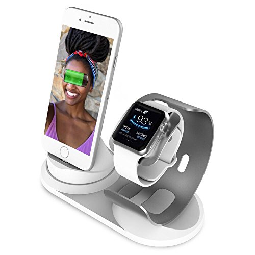 Apple Watch Stand with Night Stand for Apple Watch Series 42mm 38mm Aluminum 2 in 1 Cell Phone Stand and Iwatch Dock Station for Iphone X 7 8 Plus 6 6S