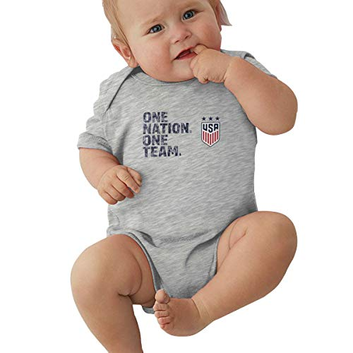 United States Women's National Soccer Team Baby Bodysuits Short Sleeve Onesies Outfit Gray 2T