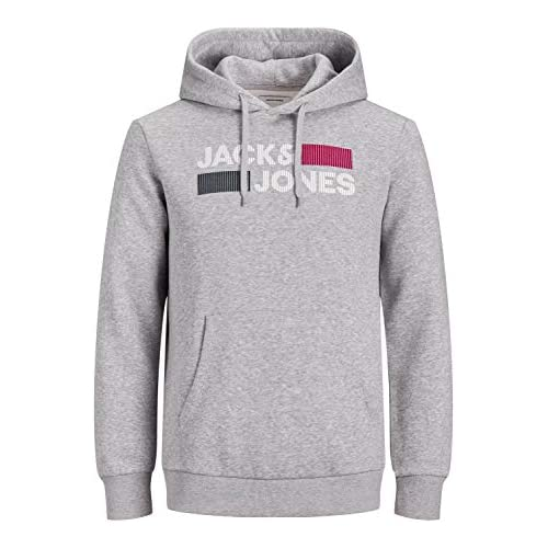 chollos oferta descuentos barato Jack Jones JJECORP Logo Sweat Hood Noos Sudadera con Capucha Light Grey Melange Detail Play REG Large para Hombre