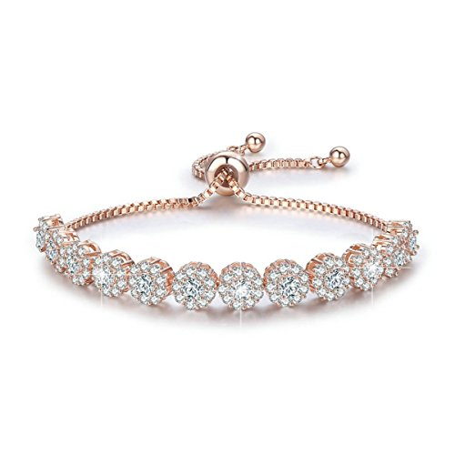 BAMOER Classic Luxury Rose Gold Plated Bracelet with Sparkling White Cubic Zirconia Stones Adjustable Chain Bracelets for Women Girls for Her
